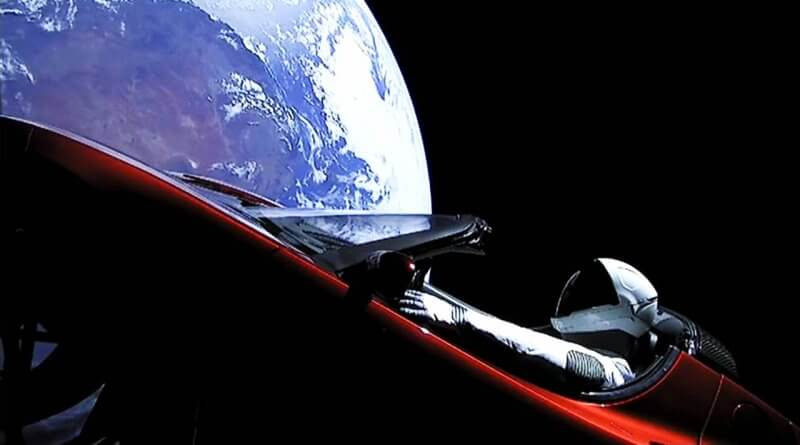 tesla orbiting the earth